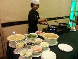 Pancit.one of the buffet tables in Tall Vista Hotel.