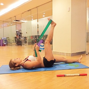 hamstring stretch resistance band by Merrithew flex band