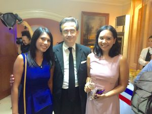 Ambassador of France Thierry Mathou with Philjets Marketing Manager Kaye Rey and Philjets Business Development Manager Michiko Soriano