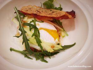 Crustacean Bisque · Shrimp · Onions · Celery · Potato · Apple Arugula Salad · Perfect Egg · Wild Arugula · Granny Smith Apple · Bacon Vinaigrette ·